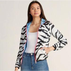 NWT Gaudi Reversible Zebra Stripe Hooded Jacket